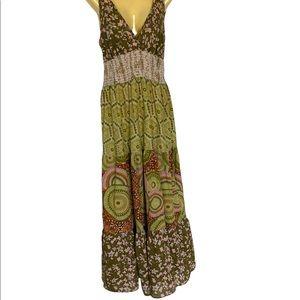 Angie Maxi Halter Print Dress Adjustable Straps